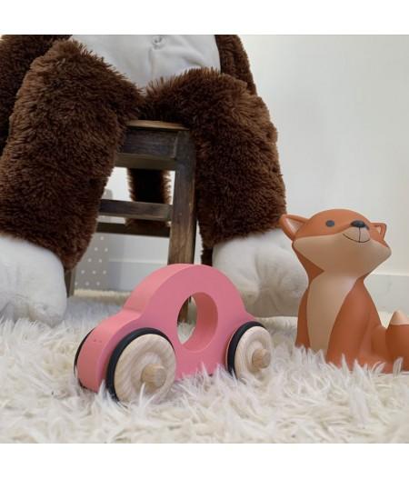 Petite voiture rose jouet en bois enfant