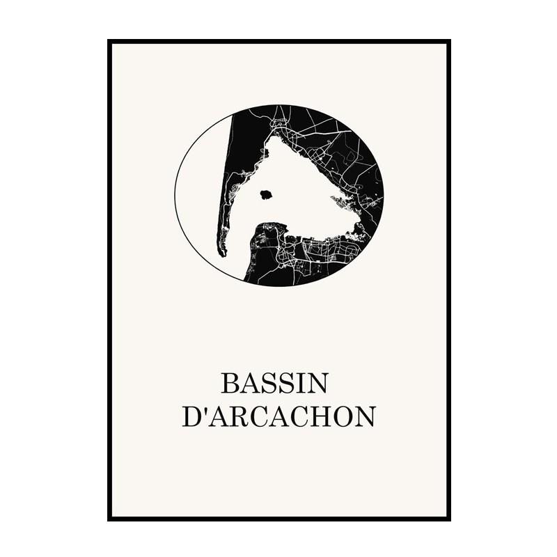 Carte Design du Bassin d'Arcachon