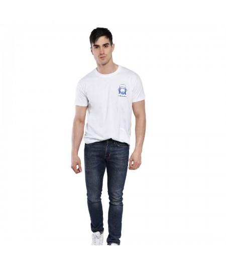 T-shirt blanc brodé le baroudeur