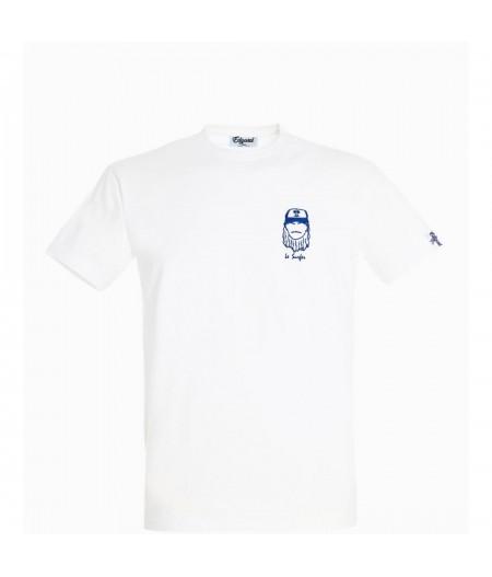 T-shirt blanc brodé le surfer