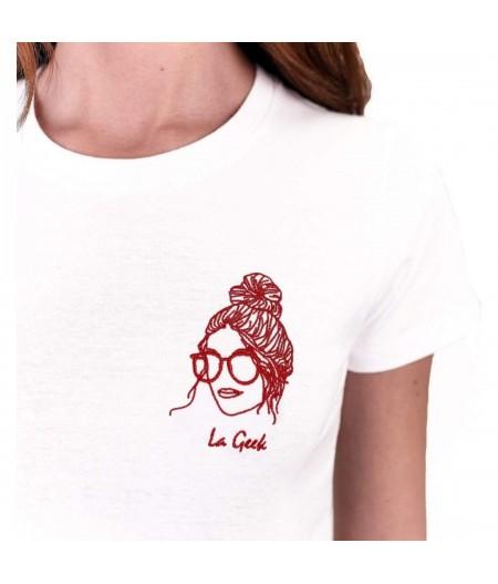 T-shirt blanc brodé la geek