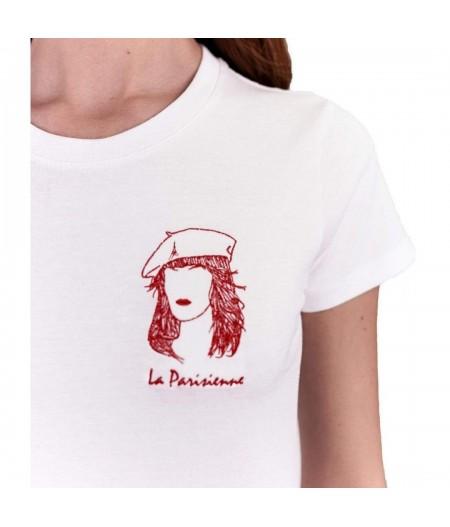 T-shirt blanc brodé la parisienne