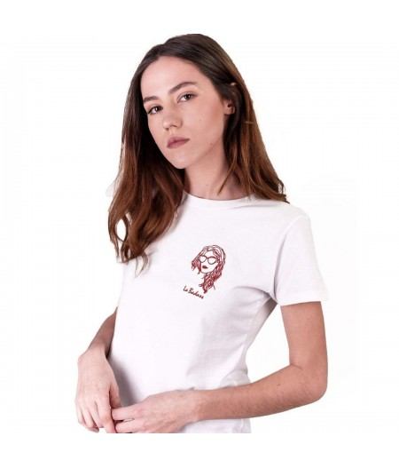 T-shirt blanc brodé la badass