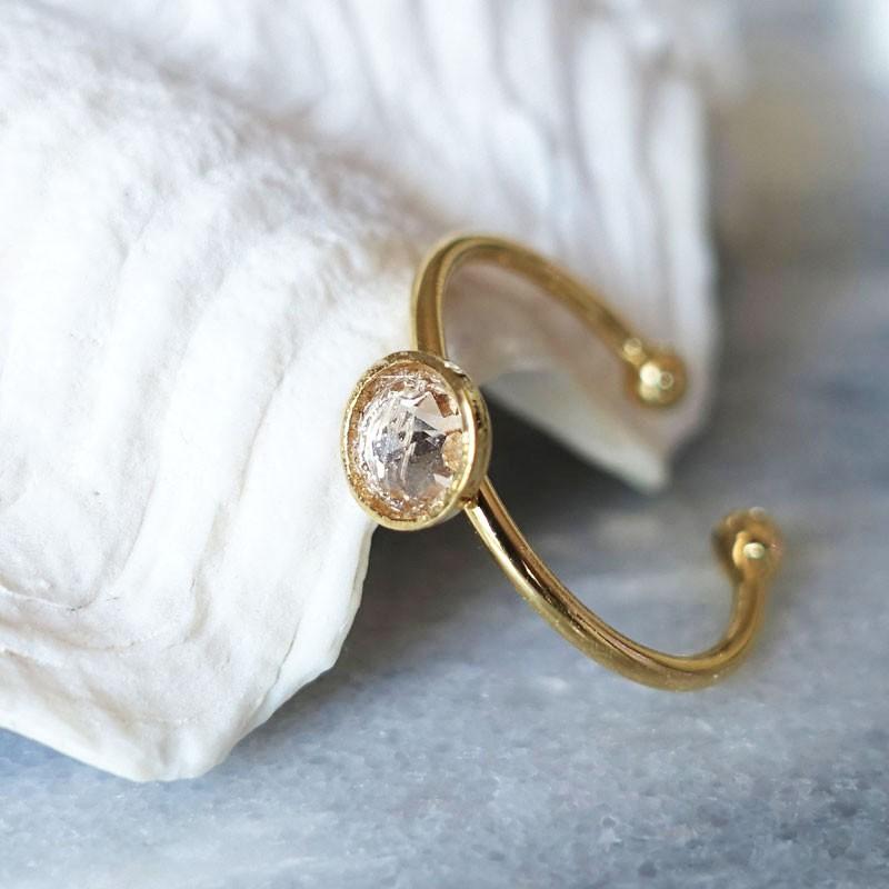 Bague cristal de swarovski transparent et or