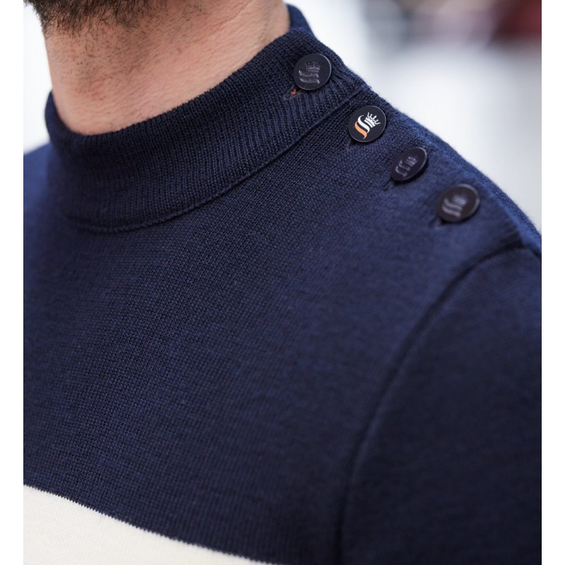 Pull marin tricolore 100% laine vierge SILVERE