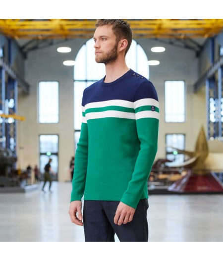 Pull en maille tricolore made in france