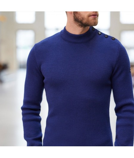 Pull marin uni 100% laine vierge ADRIAN Outremer