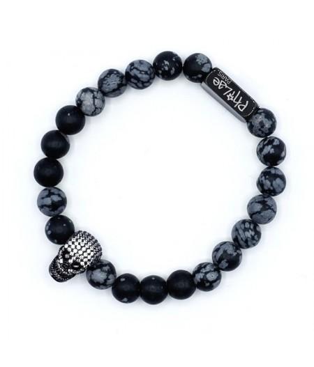 Bracelet Lucky homme obsidienne snowflake et skullhead strass